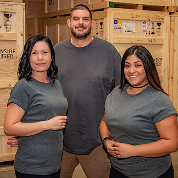 team with wood crates